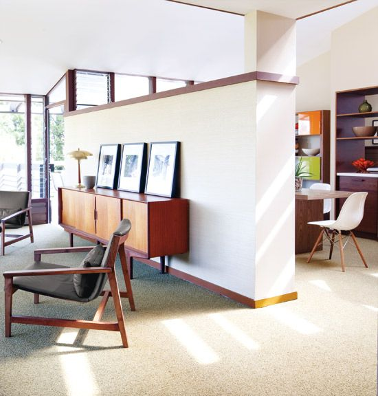 I like this space--I like the partial wall dividing the rooms, I love the buffet, the windows