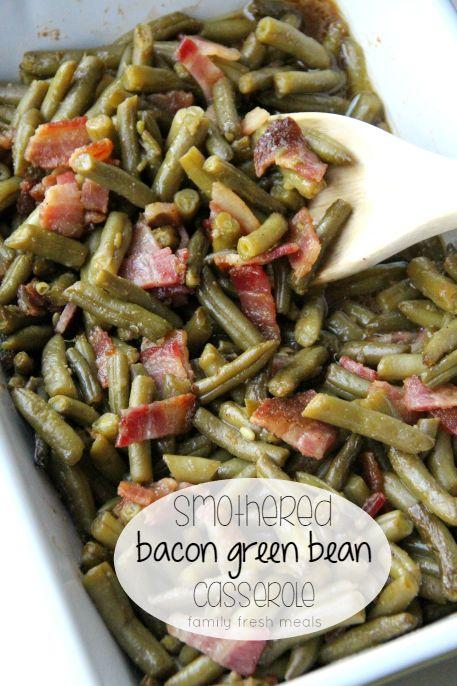 Smothered Bacon Green Bean Casserole #ad #BurstingWithLife @delmontebrand
