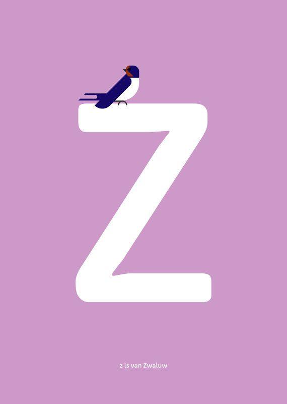 Zwaluw print. Nederlands Vogel Alfabet print: Z is van Zwaluw