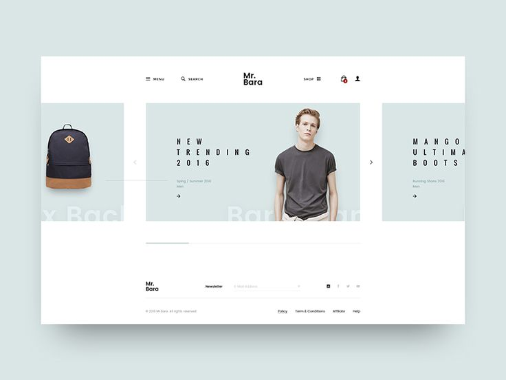 Hello ! Continue with project Mr.Bara. Here is another homepage with minimal design style, use carousel effect on slider.  View Full Project   Thank you for watching !  Follow my Dribbble | Behance