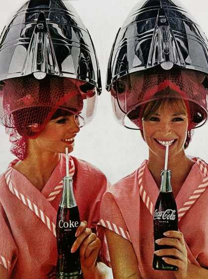 1960's Coca-Cola Advertisement: Observed, Funny Commercial, Cocacola, Beautiful Salons, Hairdryer, Hair Dryer, Vintage Ads, Vintage Coca Cola, 1960