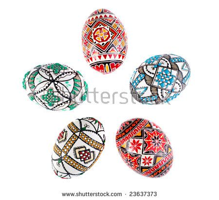 romanian traditional painted easter eggs over white