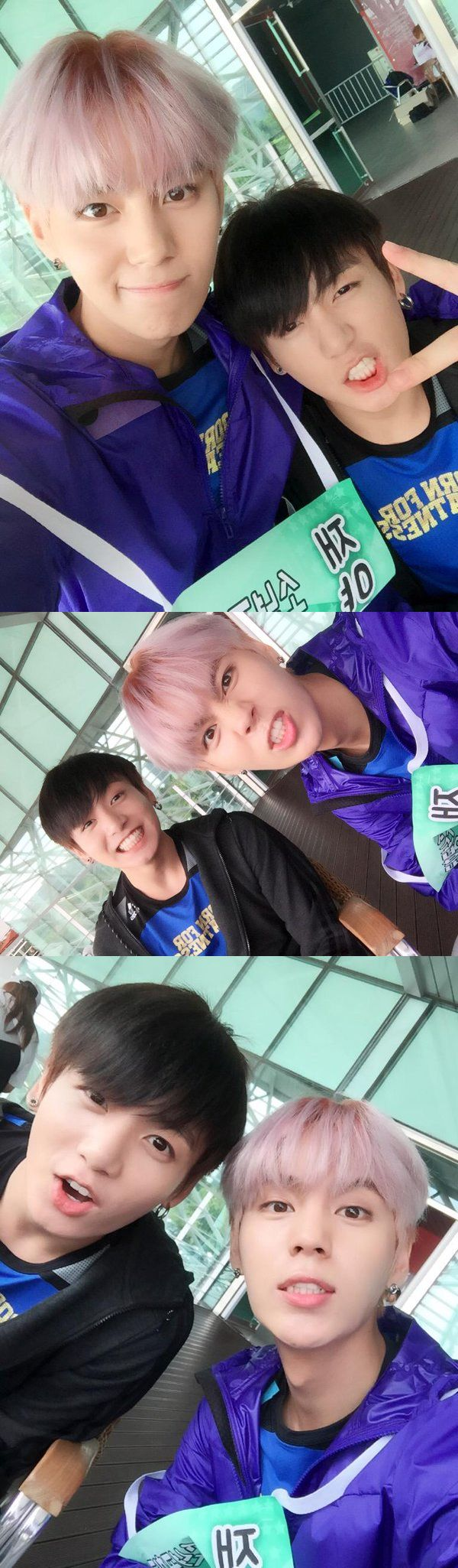 Two of the best maknaes around! Jungkook and Suwoong BTS and Boys Republic; Aug 2015
