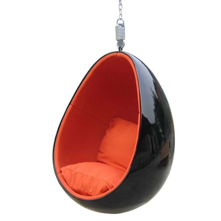 Perfect Orange And Black Hanging Egg Chair