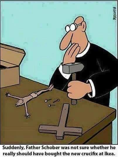 """""""Suddenly, Father Schober was not sure whether he really should have bought the new crucifix at Ikea.""""  At first, it is funny. But there is a deeper meaning here to this cartoon."""