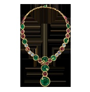 A large collar style necklet composed of cabochon cut round emeralds, spinels, rubies, star sapphires and diamonds rub over set with entwined snakes