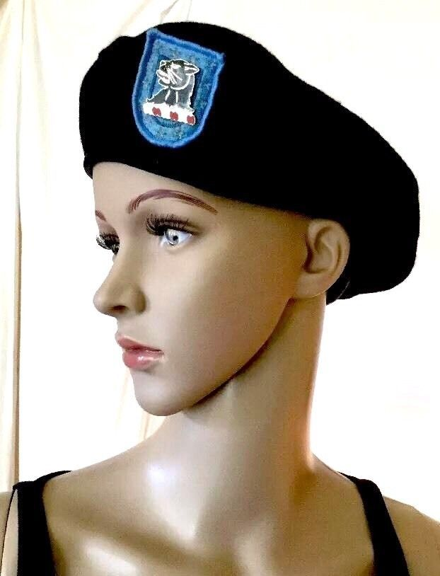 $16.50 FREE SHIPPING  MILITARY US ARMY BERET BLACK WOOL Special Forces W/ Blue Flash & Cat Pin? 22""