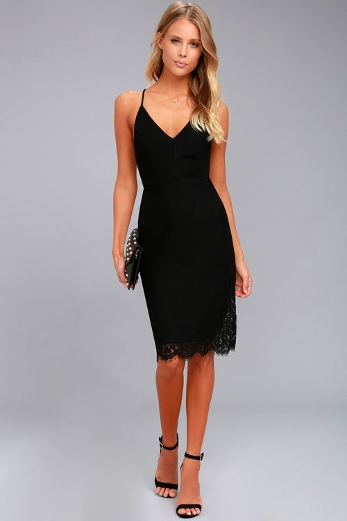 079c3a66781b Lulus   Only Want You Black Lace Bodycon Midi Dress   Size Large ...