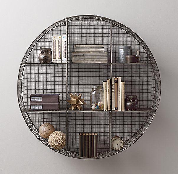 Industrial Wire Cubby Round Shelf