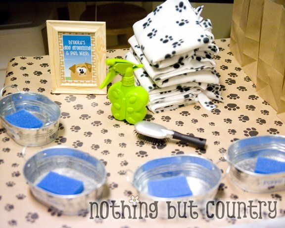 Puppy Wash Station idea and link to elaborate puppy party with activities, food, decoration.