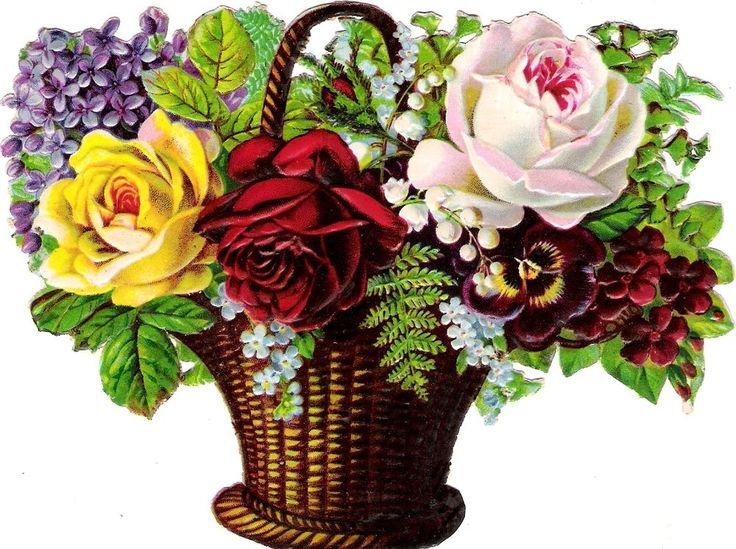 Oblaten Glanzbild scrap die cut chromo Blumen Korb 16cm basket lilac rose fleur