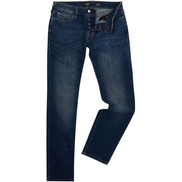 Guess Sonny Slim Tapered Fit Jeans ($55) ❤ liked on Polyvore featuring men's fashion, men's clothing, men's jeans, men jeans, mens jeans, guess mens jeans, mens slim fit tapered jeans, mens zipper jeans and mens tapered jeans