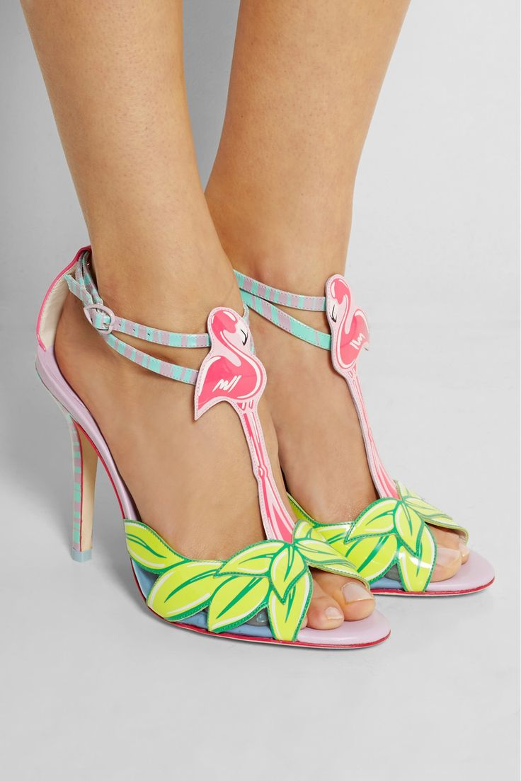 Sophia Webster | Flamingo patent-leather sandals | NET-A-PORTER.COM (Completely and utterly absurd, but part of me is dazzled by these. Just not the price. OMG)