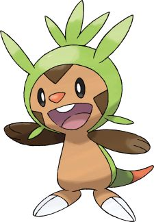 Chespin is the GRASS starter of Pokémon X and Y. Chespin has a tough shell covering its head and back. Despite having a curious nature that tends to get it in trouble, Chespin keeps an optimistic outlook and doesn't worry about small details.
