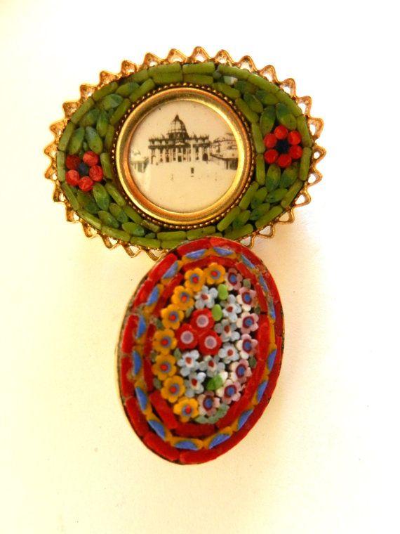 Vintage Italian 1950s fine micro mosaic brooches by RAKcreations