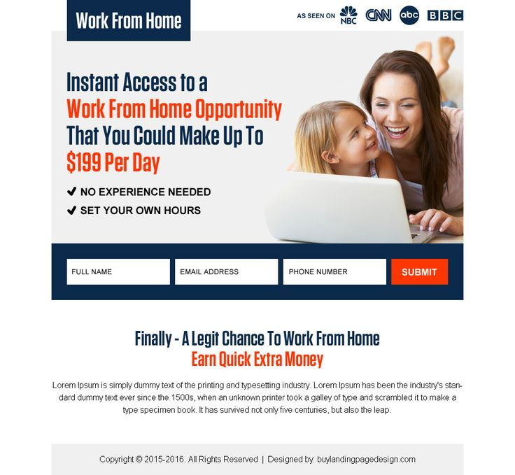 Work From Home PPV Landing Page Design To Earn Money Online Without  Investment
