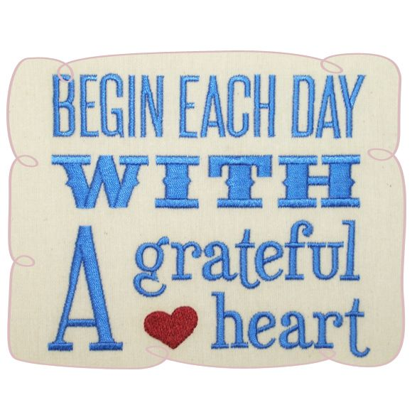 A Grateful Heart Saying Embroidery Design