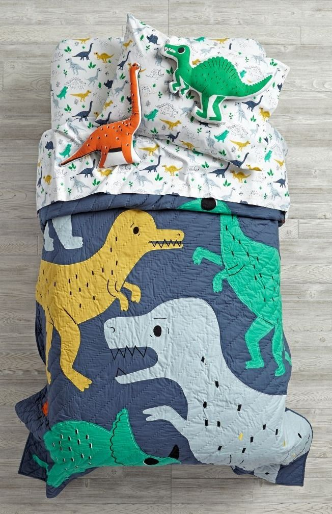 Shop Retro Reptile Dinosaur Kids Bedding.  This exclusive dinosaur bedding is covered with appliqued dinosaurs, as well as tons of embroidered accents.  Shop for bedding for your boys' room.