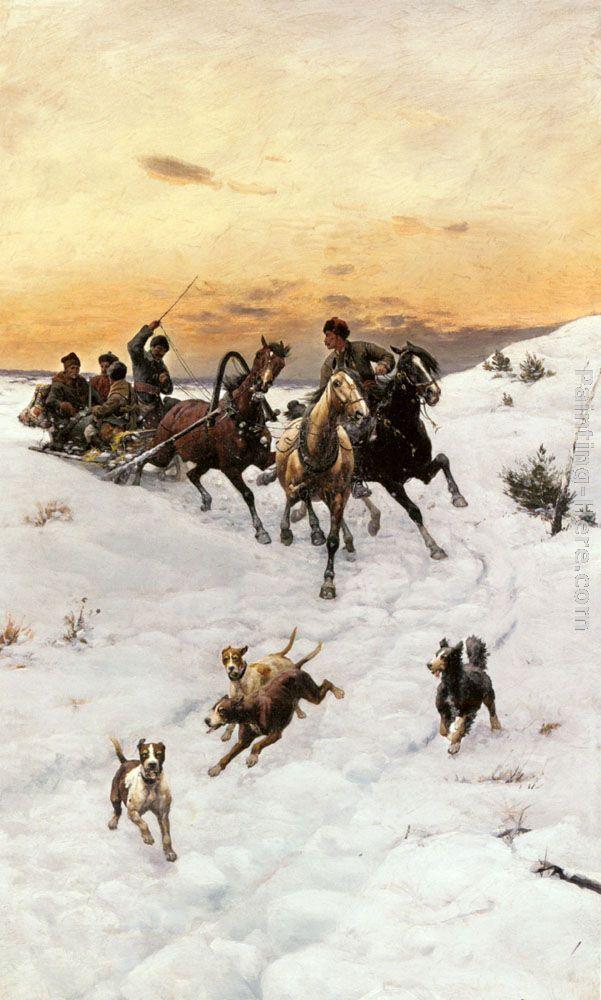 Figures in a Horse drawn Sleigh in a Winter Landscape  - Bodhan Von Kleczynski