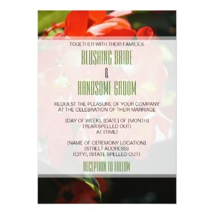 #Red Begonias 5x7 Wedding Invitation - #wedding gifts #marriage love couples