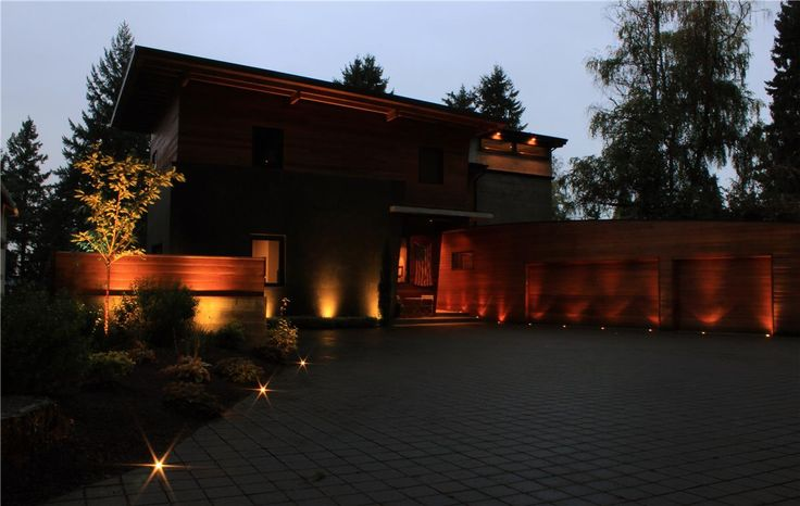 Beaux Arts Project with inground mini well lights - NW Outdoor Lighting