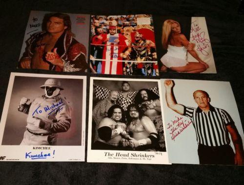 TERRY TAYLOR MISSY HYATT AFA GENIUS KIMCHEE DICK WOEHERLE SIGNED WWE PHOTO LOT