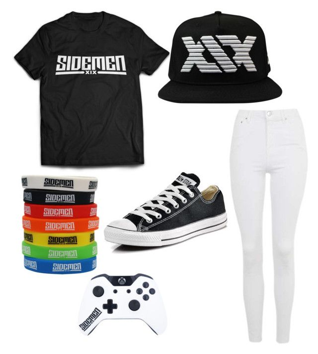 """""""Sidemen"""" by heyimmaci ❤ liked on Polyvore featuring Topshop and Converse"""