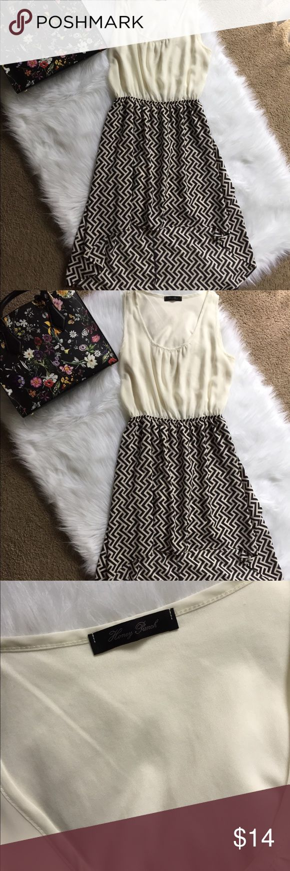 Hi-Lo Zig Zag Black and White Dress Hi lo dress great for casual wear or for work 100 % polyester Honey Punch Dresses High Low
