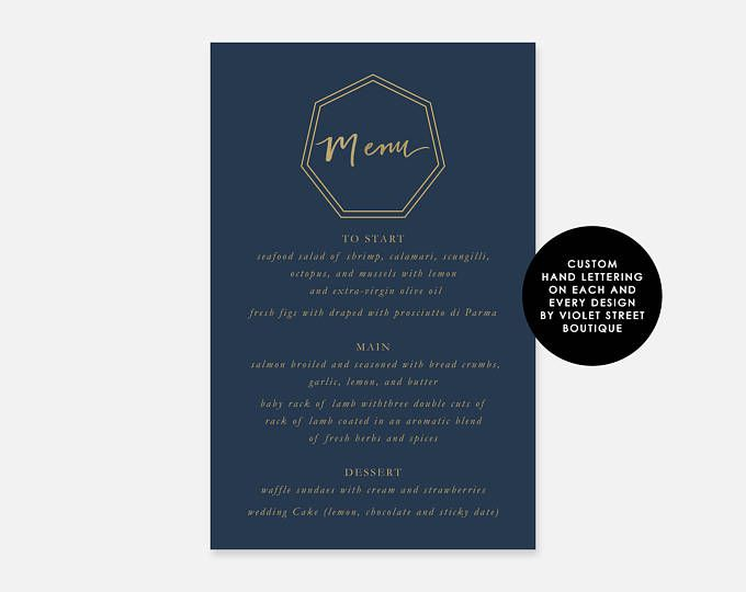 Printable Menu PDF Navy and Gold Bali Wedding Suite Custom Menu Geometric Modern Wedding Menu Crest Monogram Menu Calligraphy Hand Lettered