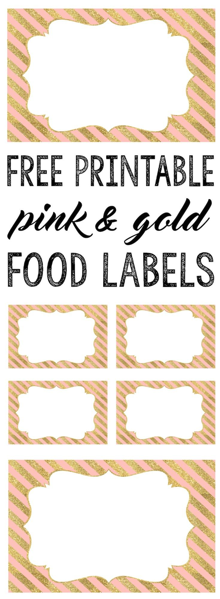 Pink and Gold Food Labels free printable. Print these food labels for your pink and gold baby shower, birthday party, bridal shower or whatever even you choose.
