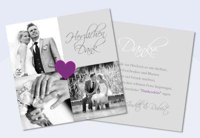 """Danksagungskarte Hochzeit, Karte Hochzeit """"black & white"""""""