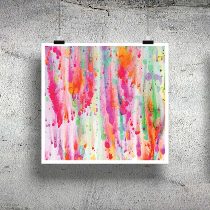 BRIGHT PINK WATERCOLOUR POSTER COLOURFUL WALL ART HOME DECOR - PRINT ONLY
