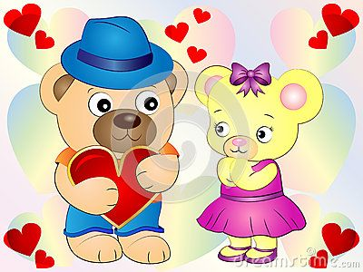 Cute Teddy Bears with Heart Vector Illustration wallpaper Background.