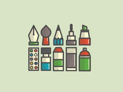 Dribbble - Paint Icons by Kemal Şanlı