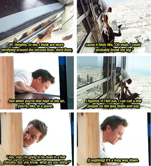 Jeremy Renner ....  filming at the Burj Khalifa ... Mission: Impossible - Ghost Protocol