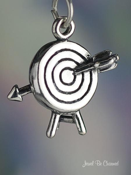 Archery Charm Sterling Silver Target