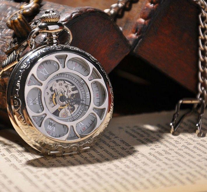 montre à gousset mécanique Marguerite d'Argent, squelette.