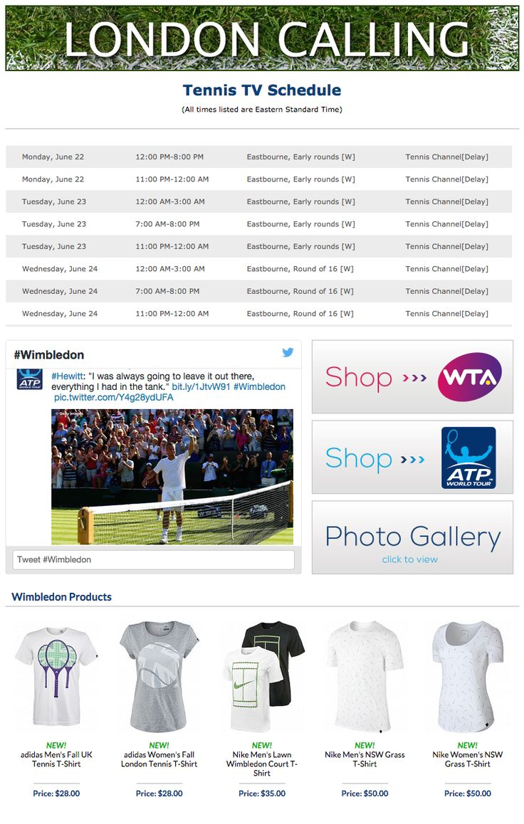 Wimbledon starts today! Check out our media page to find pro gear, the complete tv schedule, and all things Wimbledon!