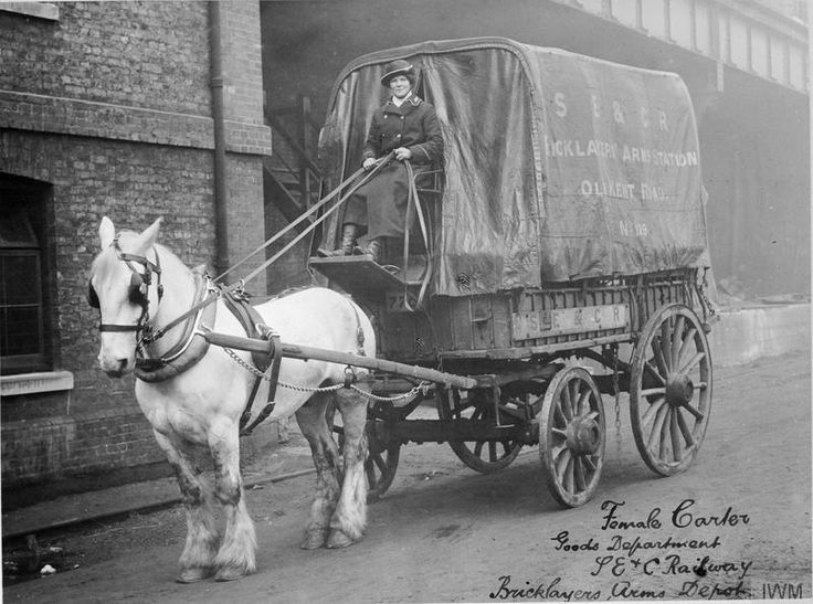 A female carter with her horse employed by the South East and Chatham Railway Company at depot at the Bricklayers Arms depot in the Old Kent Road, London.