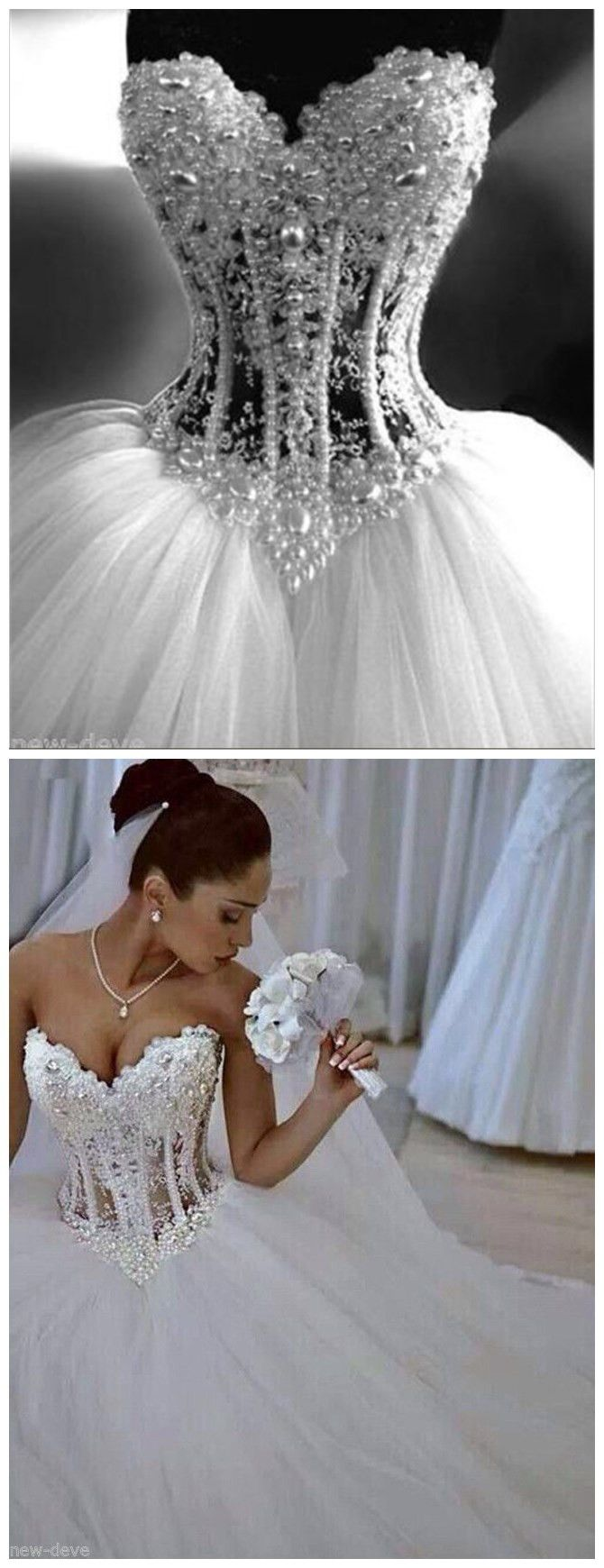 Gorgeous White Pearl Rhinestone Sparkly Ball Gown Wedding