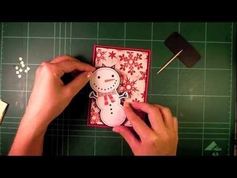Tarjeta navideña con embossing y tinta distress