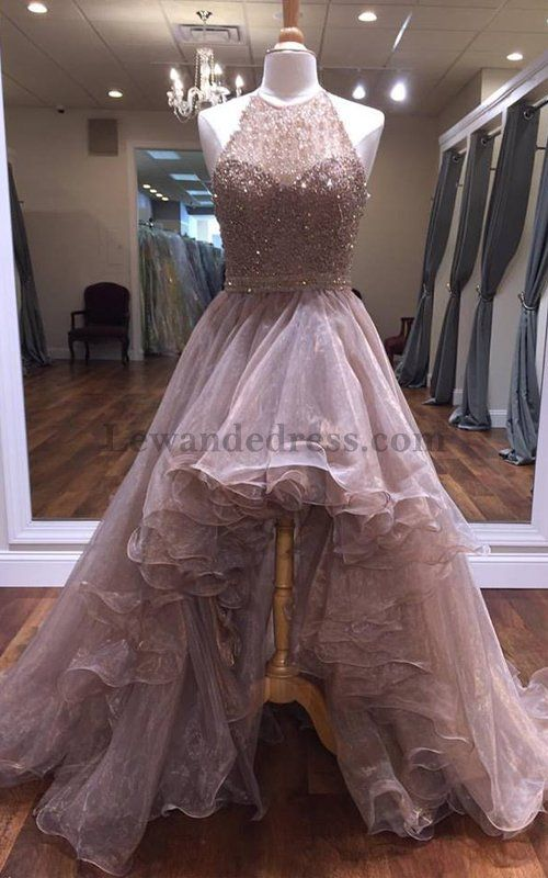 High Low 51140 Halter Open Back Beaded Organza Nude Evening Dress [Lewande 51140 nude] - $238.00 : LewandeDress.com