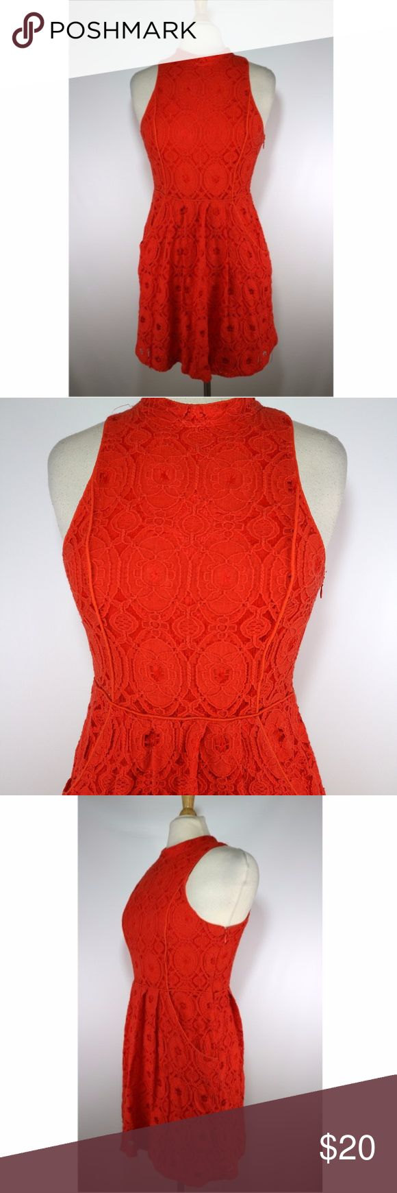 """Kimchi Blue High Neck Lacy Dress Red Orange Kimchi blue women's lacy floral dress. Size 8. Zips up the side and it also has pockets. Gently used. Clean.   17"""" armpit to armpit  14"""" across at waist 32"""" long (shoulder to bottom) Kimchi Blue Dresses"""