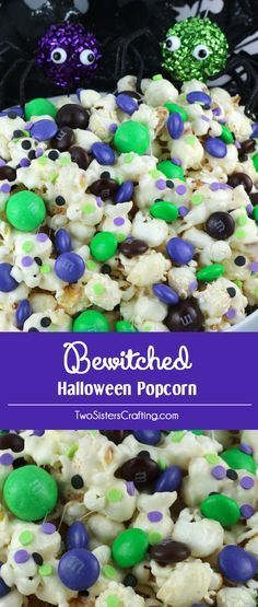 Bewitched Halloween Popcorn - sweet and salty popcorn covered in marshmallow and…
