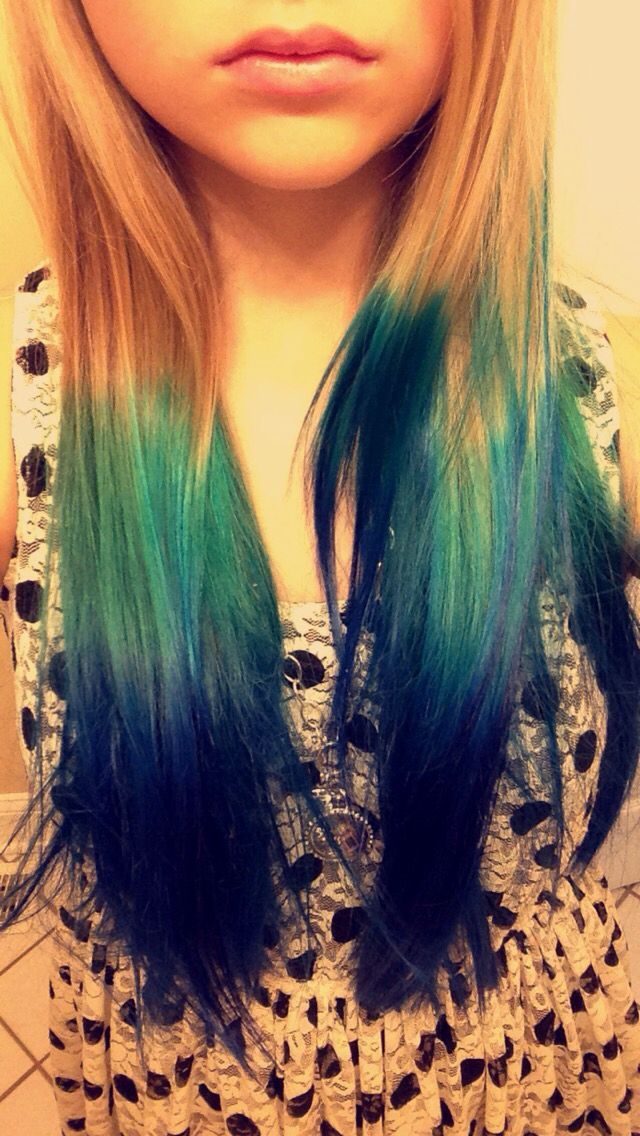 My daughter's hair!  Blue Hair ombre blonde dye Splat Haircolor hair color green aqua Dipdye dip dye Hair Trend Teen Hair