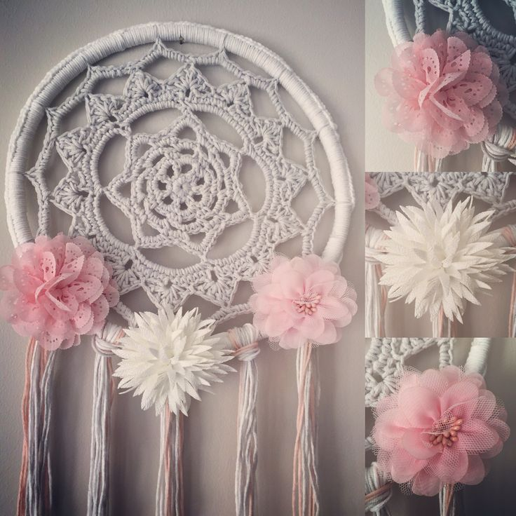 Grey white and pink dream catcher