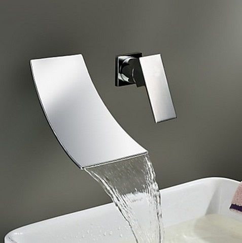 Waterfall Widespread Contemporary Bathroom Sink Faucet (Chrome Finish) TQ6015