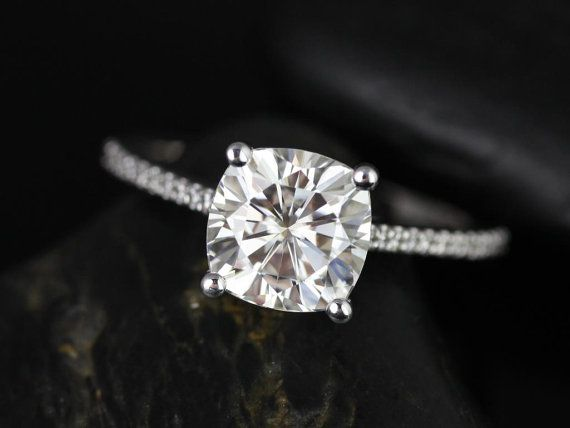 Marcelle 14kt White Gold Cushion FB Moissanite and Diamonds Cathedral Engagement Ring (Other metals and stone options available)