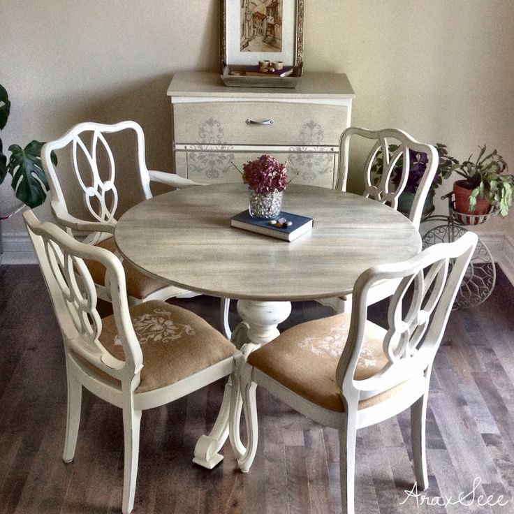 Uniquely refurbished vintage carved solid wood dining table and four chairs all chalk painted - Painted dining tables distressed ...