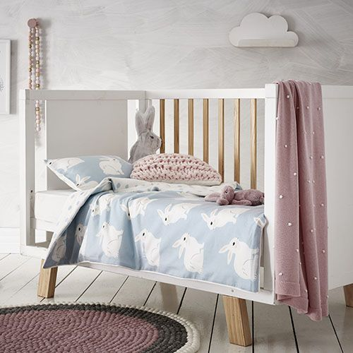 Bunny Love Pale Blue Cot Flannelette Quilt Cover Set